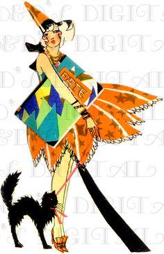 RARE! Divine Flapper Holds Book of FATE! Art Deco Halloween Vintage Illustration. Digital Halloween Download. Flapper Bridge Tally Image! by DandDDigitalDelights on Etsy https://www.etsy.com/listing/204305986/rare-divine-flapper-holds-book-of-fate