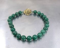 Jade Green Gemstone Necklace Hand Knotted by TonettesTreasures