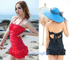 $23 2012 New Style Sexy Layered Ruffle Swimdress Swimsuit With Pad  4 Colors CM89