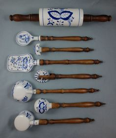 Vintage or Antique Lot of 8 GERMAN BLUE ONION KITCHEN UTENSIL TOOLS Wood Handles