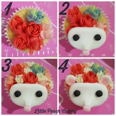 Flower Hedgehog Cupcake tutorial – Little Peach Cakery - Good things to eat! Cupcake Tutorial, Cake Topper Tutorial, Hedgehog Cupcake, Sonic Cake, 3rd Birthday Cakes, Birthday Ideas, Creative Cake Decorating, Edible Glue, Little Peach
