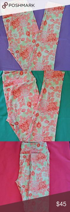 NEW OS ROSE LULAROE LEGGING! One size fits most(0-10/12) rose legging. Made in Indonesia. Light mint green background with pink with red roses. LuLaRoe Other