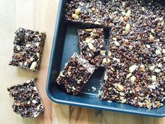 Healthy snack ideas, including a recipe for crispy chocolate peanut butter bars.