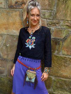 fringed HIP bag belt BAG  fannypack  buddhist MANTRA hippie accessory crochet fairy belt bag hand made. $58.00, via Etsy.