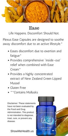 Plexus Ease Capsules are designed to soothe away discomfort due to an active lifestyle.* With Ease, you will notice your discomfort easing away.* https://shopmyplexus.com/connieaunger/products/nutrition/plexus-ease-capsules/index.html *These statements have not been evaluated by the Food and Drug Administration. This product is not intended to diagnose, treat, cure, or prevent any disease.