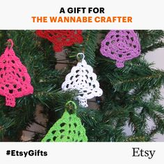 set of 5 crocheted Christmas tree decorations $15