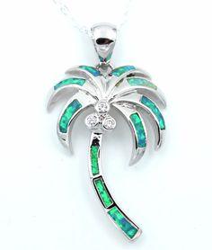 Fashion Silver Tone Island Beach/&Palm Tree Pendant Necklace Women Girl Gift