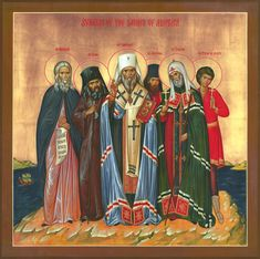 Synaxis of the Saints of (North) America icon. From left are St. Herman on Alaska, St. John (Maximovich) of Shanghai and San Francisco, St. Innocent of Alaska, St. Juvenal, St. Tikhon and St. Peter the Aleut.