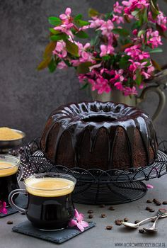 Chocolate bundt cake with walnut liqueur