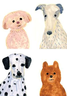 dog portraits by Itsuko Suzuki, would be fun to paint with my son, age 7...