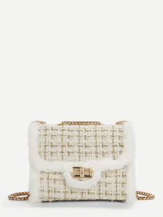 0ef5d23b0785 Faux Fur Decor Chain Crossbody Bag Decor Fur Faux