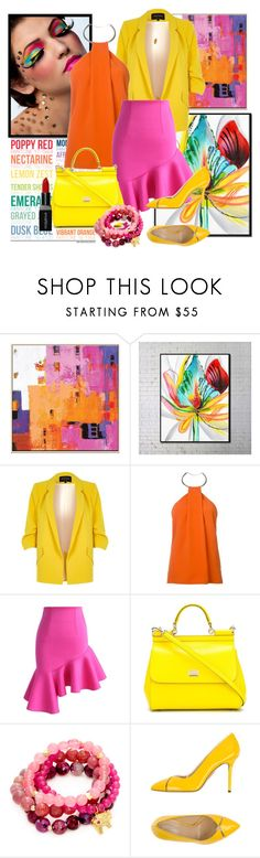 """""""Be Bright"""" by janie-xox ❤ liked on Polyvore featuring Pantone, River Island, Thierry Mugler, Chicwish, Dolce&Gabbana, Good Charma, Charlotte Olympia and Smashbox"""