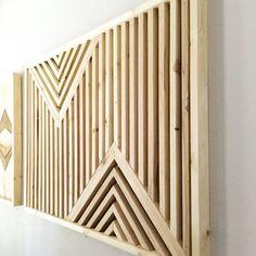 Art bois géométrique Art bois moderne Art par BlankSpaceStudios