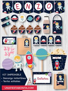 Printable Kit for Astronaut Theme Parties Baby Boy Birthday, First Birthday Parties, First Birthdays, Grad Party Decorations, Party Themes, Theme Parties, Party In A Box, Party Kit, Space Baby Shower
