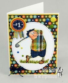 Art Impressions Rubber Stamps: Gordon Golfer Set (Sku#4325) Ai People ... handmade masculine card. sports, award, #1