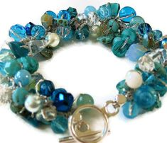 Destination Beach Wedding Bridal, Bridesmaids Beaded Crystal Bracelet, Blue Green, Teal, Aqua, OCEAN CARIBE, Hand Knit, Sereba Designs