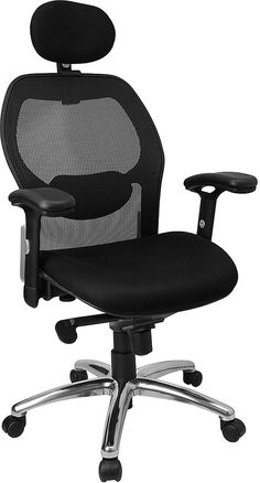 Charming High Back Super Mesh Office Chair With Black Fabric Seat And Knee Tilt  Control