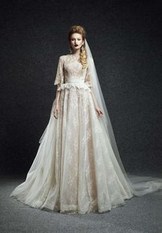 ウェディングドレス ビンテージ ハイネック レース ハーフスリーブ ボールガウン 結婚式 2次会 服装 Hes0005