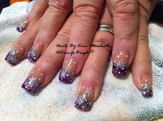 snowflake acrylic nail | purple and silver snowflake Acrylic nails #nailart Www.facebook.com ...