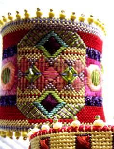 needlepoint cuff - OOOOO! I think I need to make some of these for me and for friends - so easy to make Steampunky!