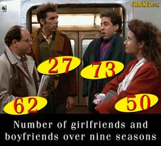 Number of girlfriends and boyfriends over nine seasons