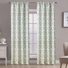"""Aubrie Home Accents Bulwick 2 Panel Pair of 84"""" Floral Scroll Print Window Curtains in Grey and Green Scroll Pattern, Window Curtains, Home Accents, Window Treatments, Green And Grey, Windows, Dining, Living Room, Elegant"""