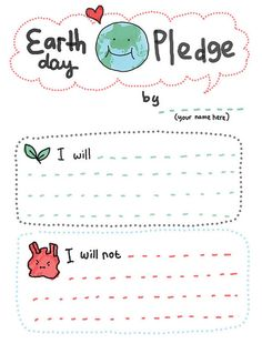 Frugal Life Project: Printable Earth Day Pledge for Kids