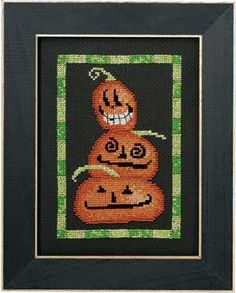 """$12.99 TRIPLE JACK MOONLIGHT MADNESS D MUMM. Halloween is sweet and silly, not scary, when Debbie Mumm is doing the designing. Each counted cross-stitch and beading kit for the 4 1/4"""" x 6 1/4"""" designs includes 14-ct black or tropical green Aida cloth, cotton floss, beads, needle, chart and directions. SALE was 15.99 now only 12.99! Part Number: 50022."""