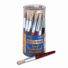 CREATIVITY STREET Round Natural Bristle Colossal Brushes, Colored Wood Handles, 30 per Container
