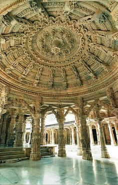 Dilwara Jain temples in Mount Abu, Rajasthan, India. I might use these patterns and design on my porch ceiling.