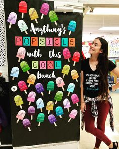 I just love this colorful and easy to make classroom door! This Anything Popsicle with this Cool Bunch door is perfect as we head into warmer days this spring! Classroom Bulletin Boards, Classroom Setup, Future Classroom, Classroom Organization, Classroom Door Decorations, Summer Door Decorations, Preschool Door, Kindergarten Classroom, Class Door