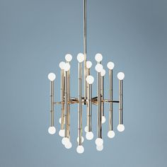 "Jonathan Adler Meurice Collection 30-Light Nickel Chandelier | LampsPlus.com  $894.91      Polished Nickel finish.  Takes thirty 25 watt candelabra globe bulbs (not included).  22"" high.  19 1/4"" diameter.  28"" minimum drop.  57 1/4"" maximum drop."