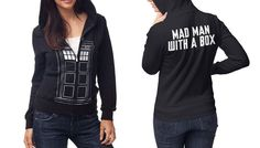 Doctor Who Juniors Navy Front Zip Hoodie (Extra Large, Mad Man)