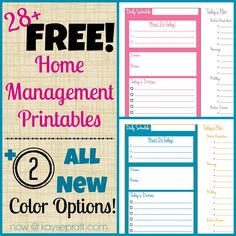 Free Home Management Printables Address Book Auto Maintenance Baby Journal Babysitter Info Blog Planning Calendar Book Inventory Cleaning Schedule Daily Plan Exercise Log Family Budget Financial Goals Food Journal Freezer Inventory Immunization Record Kids Daily Schedule Household Project List Meal Planning Calendar Online Password Tracker Pantry Inventory Anniversary/Birthday Calendar Restaurants & Take Out Shopping List Spending Tracker Weekly Menu http://www.leeanngtaylor.com/kaysepratt