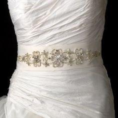 Beautiful Marquise Rhinestone Beaded Floral Wedding Bridal Sash Belt – Ivory