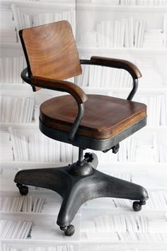Vintage Iron and Wood Swivel Chair