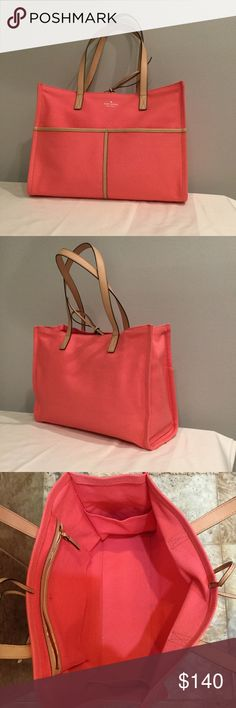 """Kate Spade Tote Kate Spade Canvas Mega Sam Color: Peach Sherbet This is one of a kind, this color never made to mass production. Canvas with Leather trimming  Interior: 2 slide pockets on each side and 1 zip pocket , exterior: 2 slide pockets.. 14.5""""across x 12"""" high x 4.5"""" New, from a KS Sample Sale Bags Totes"""