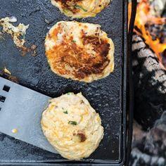 Chicken and Cheddar Potato Pancakes #camping #rotisseriechicken