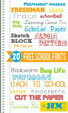 free back to school fonts ~~ 20 free fonts w/ links Cute Fonts, Fancy Fonts, School Fonts, Computer Font, Cricut Fonts, Typography Fonts, Typography Design, Alphabet, Digital Scrapbooking