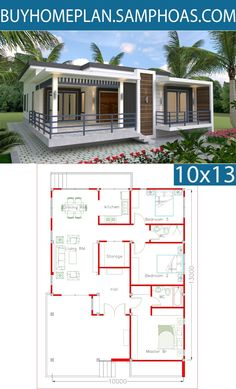 Sketchup Home Design Plan with 3 Bedrooms - Samphoas Small House Floor Plans, New House Plans, Modern House Plans, Simple House Design, House Design Photos, Modern House Design, The Plan, How To Plan, Bungalow Haus Design