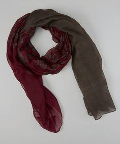 Take a look at this Gray & Eggplant Flower Scarf by Sweet Indigo on #zulily today! $10 !!