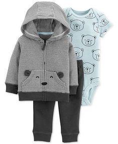 Image 1 of Carter's Baby Boys 3-Pc. Cotton Bear Hoodie, Bodysuit & Pants Set