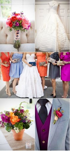 I love the mixture of colors of bridesmaid dresses - - convinces me there's no need for one set dress....