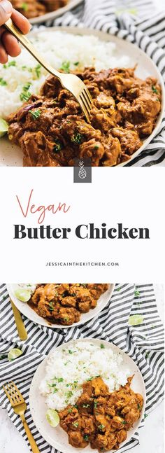 This Vegan Butter Chicken will blow your mind and impress your friends! It's a h… This Vegan Butter Chicken will blow your mind and impress your friends! It's a healthier version of the classic, and so rich and creamy! via jessicainthekitch… Veggie Recipes, Indian Food Recipes, Whole Food Recipes, Vegetarian Recipes, Cooking Recipes, Vegan Chicken Recipes, Cooking Beef, Vegan Foods, Vegan Dishes