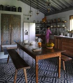 Villa Jimbaran...I wonder if I can do open shelves just for spices/lentils/flours in one corner like this?