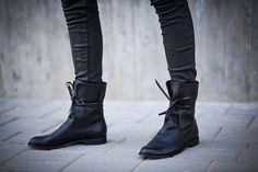 New Leather Boots Ankle Boots Black Booties Handmade