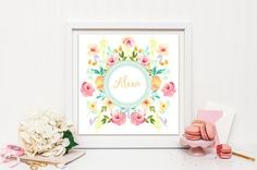 Nursery art print Personalized floral frame by SansSouciPrintables