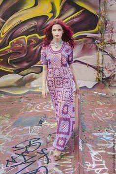 """Платье """"Бабушкин квадрат на новый лад"""" крючком из хлопка - орнамент,платье"""