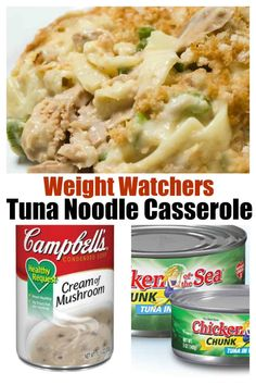 WW Recipes: Classic Tuna Noodle Casserole made lighter, easy, healthy old-fashioned family dinner favorite, 4 SmartPoints, budget friendly pantry meal idea Weight Watchers Casserole, Weight Watchers Meal Plans, Weight Watchers Diet, Weight Watcher Dinners, Weight Watchers Chicken, Ww Recipes, Fish Recipes, Cooking Recipes, Healthy Recipes