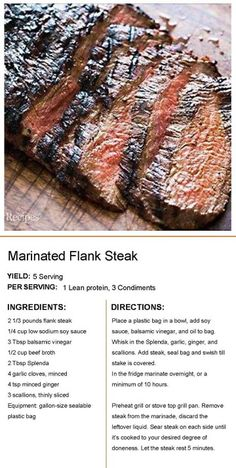Medifast Recipes, Beef Recipes, Cooking Recipes, Healthy Recipes, Lean Protein Meals, Lean Meals, Marinated Flank Steak, Lean And Green Meals, Greens Recipe